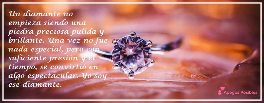 Un diamante no empieza siendo una piedra preciosa y pulida. Una vez no fue nada especial, pero con suficiente presión y el tiemp